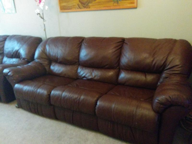 Leather Brown Couch and Love Seat set