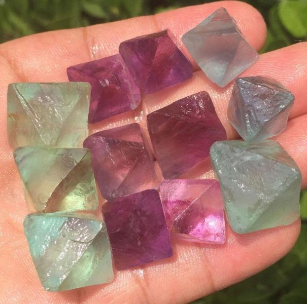 Purple and Green Fluorite Octahedral Quartz Crystals - $5 each