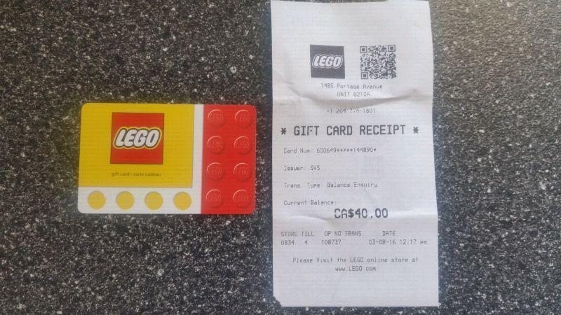 $40 gift card for The Lego Store