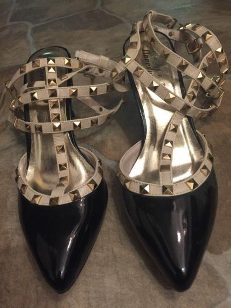 Brand new black and beige studded heels