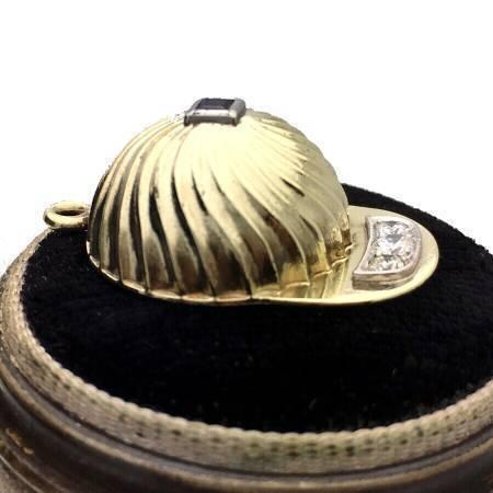 Tiffany and Co. 14k Baseball Cap Charm. Diamond & Sapphire
