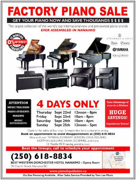 Factory Piano Event - Largest Selection in 's History!