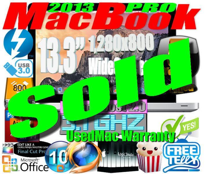 2013 MacBook Pro - 5 Year UsedMac Warranty