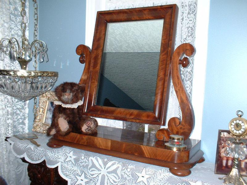 ANTIQUE MAHOGANY SHAVING MIRROR/DESK MIRROR WITH FRAME - BEAUTIF